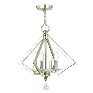 Livex Lighting Diamond Polished Nickel 4-light Mini Chandelier