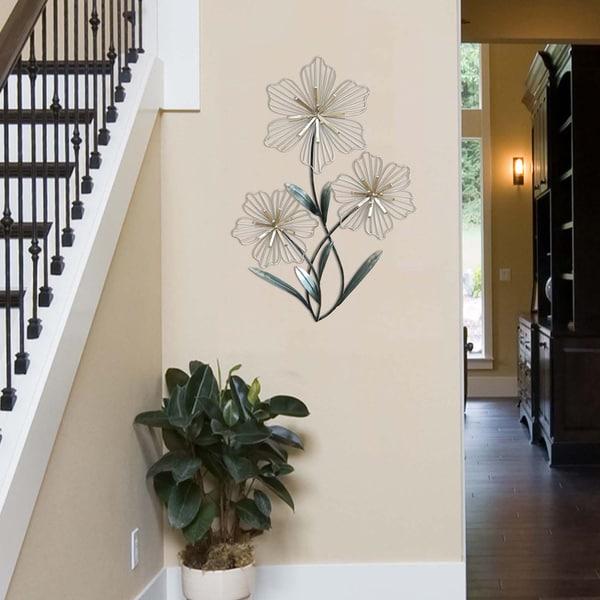 Shop Stratton Home Decor Tri-flower Metal Wall Decor - Free Shipping ...