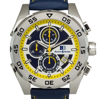 Buech & Boilat Torrent Mens Swiss Chronograph Sapphire Crystal Superluminova Textured Dial Genuine Leather Watch