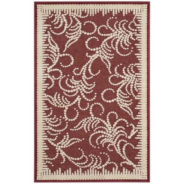 Martha Stewart by Safavieh Fountain Swirl Red/ Ivory Viscose Rug (2' 7 x 4')