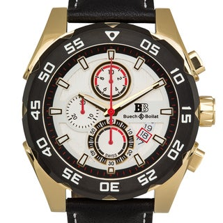 Buech & Boilat Torrent Men's Sapphire Crystal Superluminova Textured Dial Genuine Leather Swiss Chronograph Watch