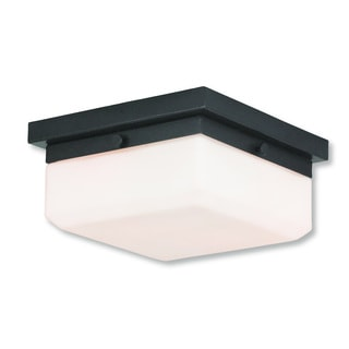 Livex Lighting Allure English Bronze Steel/Frosted Glass 2-light Flush Mount Lamp