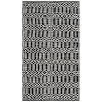 Safavieh Hand-Woven Montauk Ivory/ Dark Grey Cotton Rug (2'3 x 3'9)