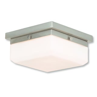 Livex Lighting Allure Brushed Nickel Steel/Frosted Glass 2-light Flush Mount