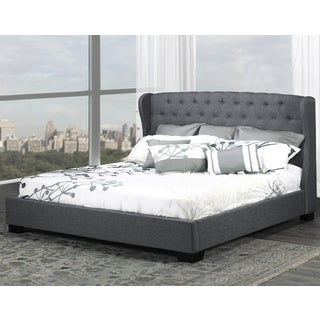 Royce Grey Linen Tufted Wingback Platform Bed (2 options available)