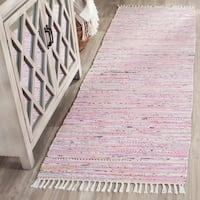 Safavieh Hand-Woven Rag Rug Light Pink/ Multi Cotton Rug - 2'3 x 5'
