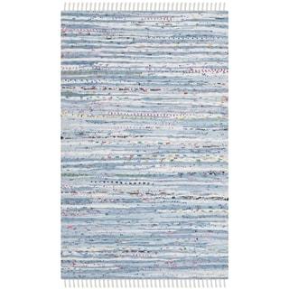 Safavieh Hand-Woven Rag Rug Light Blue/ Multi Cotton Rug (3' x 5')