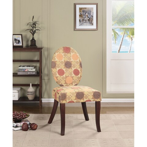 K&B AC7231 Multicolored Fabric and Wood Accent Chair