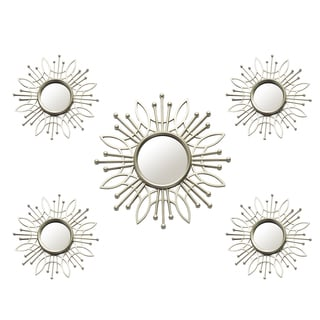 Stratton Home Decor Champagne 5-piece Round Burst Wall Mirror