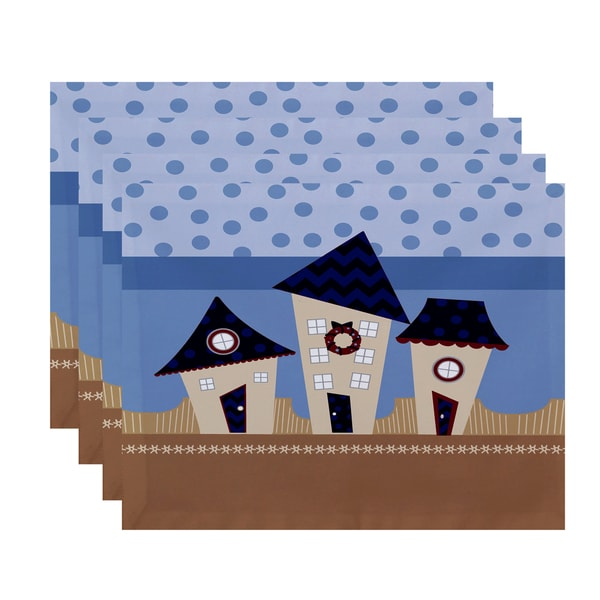 18 x 14 inch Coastal Houses Geometric Print Placemat (Set of 4)
