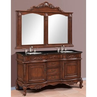 Pelagius Brown/ Walnut Double Vanity and Mirror Set