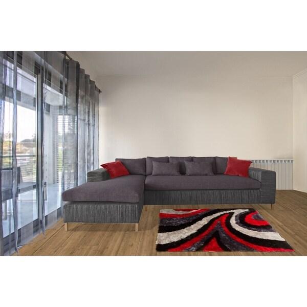 Shop Lyke Home Lush Pile Shag Red Black Contemporary Area Rug Free
