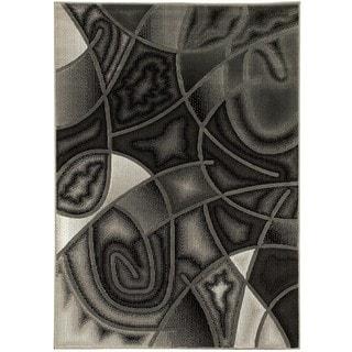 LYKE Home Contemporary Grey Olefin Latex Free Indoor Rug (8' x 10')