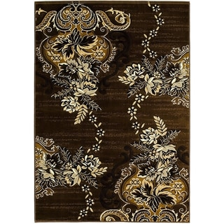 Lyke Home Olefin Chocolate Machine-made Area Rug (8' x 10')