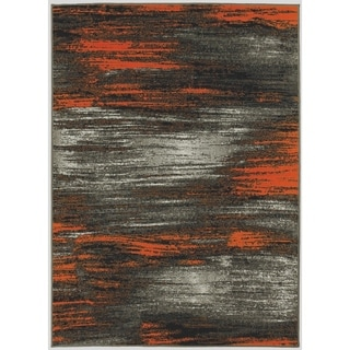 LYKE Home Orange/Grey Olefin Machine-made Area Rug (8' x 10')