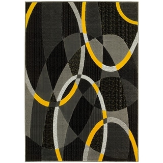 Lyke Home Grey/Yellow Modern Olefin Area Rug (8' x 10')