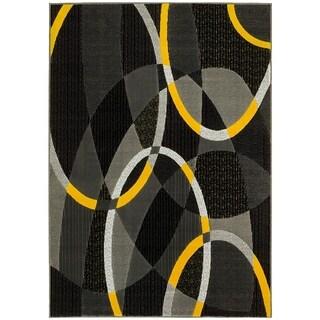 LYKE Home Grey/ Yellow Modern Olefin Area Rug (8' x 10')