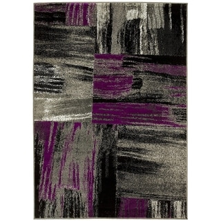 LYKE Abstract Purple/Grey Olefin Latex-free Indoor Rug (8' x 10')