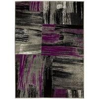 LYKE Abstract Purple/Grey Olefin Latex-free Indoor Rug - 8' x 10'