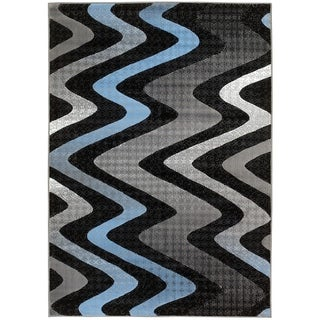 Lyke Home Contemporary Blue/Grey Olefin Area Rug (8' x 10')
