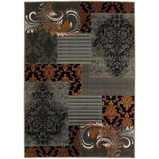 LYKE Home Orange/Grey Olefin Area Rug (8' x 10')