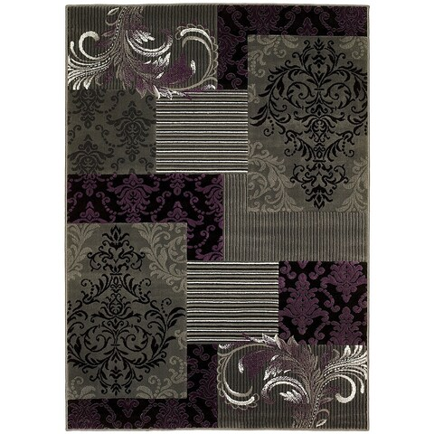LYKE Home Purple/ Grey Olefin Machine-made Area Rug (8' x 10')