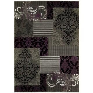 LYKE Home Purple/ Grey Olefin Machine-made Area Rug (8' x 10')