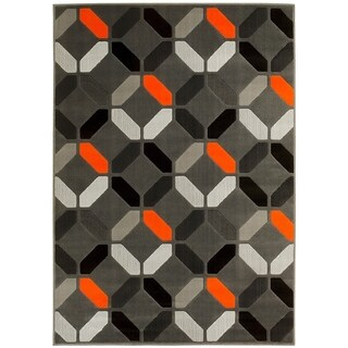 LYKE Home Orange Olefin Machine-made Area Rug (8' x 10') - 8' x 10'