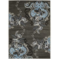 LYKE Home Abstract Machine-made Blue Olefin Area Rug (8' x 10')