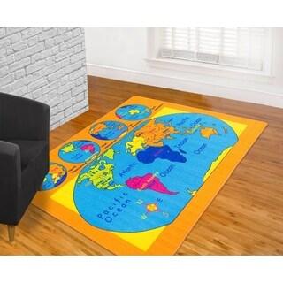 LYKE 'World Map' Blue/ Orange Nylon Latex-free Indoor Rug (7' x 10')