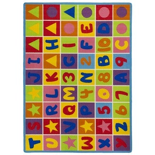 LYKE Home Multicolor Nylon Machine-made Nylon Letters and Numbers Area Rug (7' x 10')