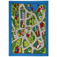 LYKE Home Grey Nylon Machine-made Street Map Area Rug (7' x 10')