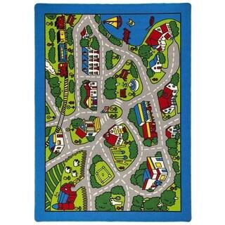 LYKE Home Grey Nylon Machine-made Street Map Area Rug (7' x 10')
