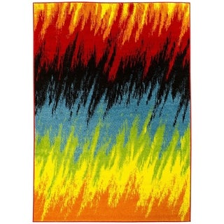 Lyke Home Abstract Multicolor Olefin Machine-made Yarn Area Rug (8' x 10')
