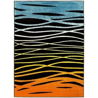 Lyke Home Desert Black/Orange Machine-made Yarn Area Rug (8' x 10')