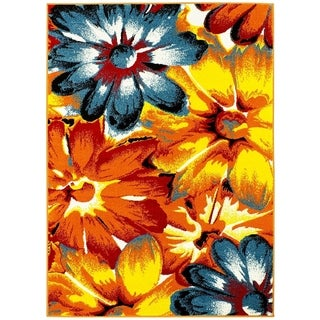 Lyke Home Floral Wind Blue/Yellow/Multicolor Olefin Machine-made Yarn Area Rug (8' x 10')