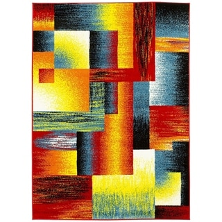 LYKE Home Multicolor Olefin Geometric Lines Machine-made Area Rug (8' x 10')