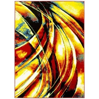 LYKE Home Yellow/Red Olefin Machine-made Indoor Rug (8' x 10')