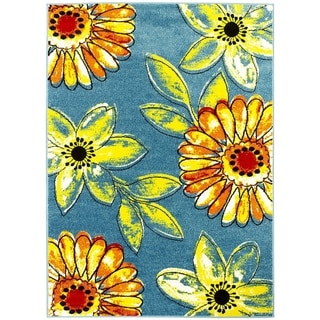 Lyke Home Multicolor Olefin Sunflower Machine-made Yarn Area Rug (8' x 10')