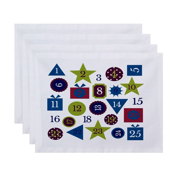 18 x 14-inch Advent Calendar Geometric Print Placemat (Set of 4)