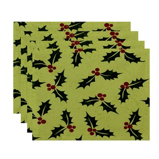 18 x 14-inch Allover Holly Floral Print Placemat (Set of 4)