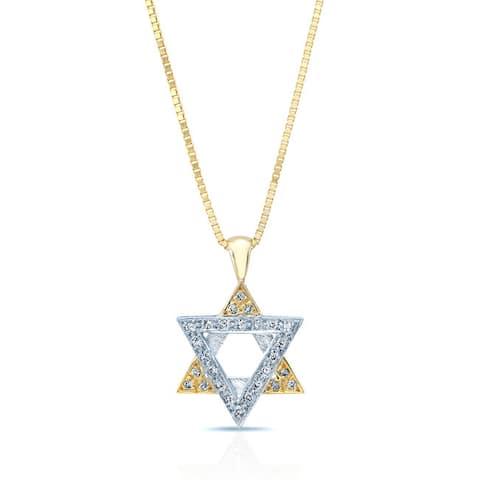 14k Two-tone Gold 1/10ct TDW Diamond Star of David Pendant (H-I, VS1-VS2)