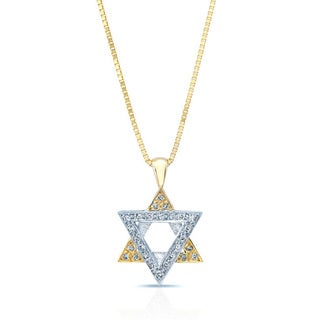 14k Two-tone Gold 1/10ct TDW Diamond Star of David Pendant (H-I, VS1-VS2)