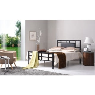 Hodedah HI826 Black and Silver Leather and Metal Bed
