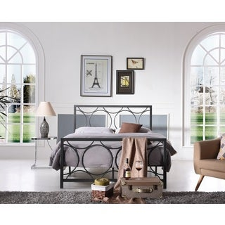 Hodedah Grey Iron Circle Panel Bed Frame