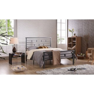 Hodedah Brushed/Grey Iron/Metal Panel Bed