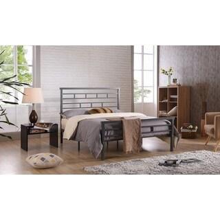 Hodedah Brushed/Grey Iron/Metal Panel Bed