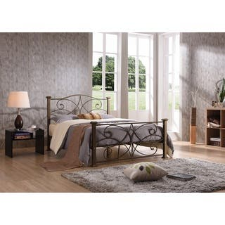 Hodedah Multicolored Iron/Metal Panel Bed (Option: Brushed)|https://ak1.ostkcdn.com/images/products/11949401/P18836311.jpg?impolicy=medium