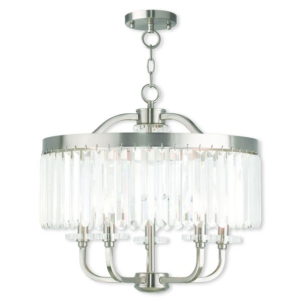 Livex Lighting Ashton Brushed Nickel 5 Light Semi Flush Mount Chandelier