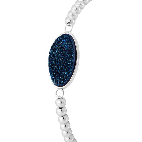Sterling Silver Blue Drusy Stretch Bead Bracelet
